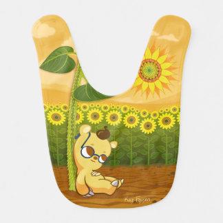 Cute Cartoon Bear with Sunflowers Baby Bib