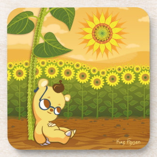 Cute Cartoon Bear with Sunflowers Beverage Coaster