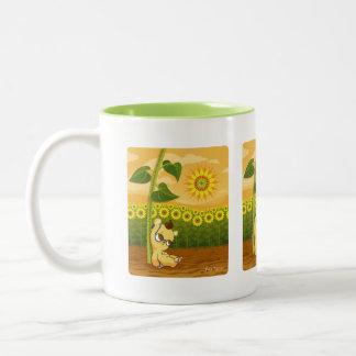 Cute Cartoon Bear with Sunflowers Two-Tone Coffee Mug