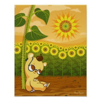 Cute Cartoon Bear with Sunflowers Poster
