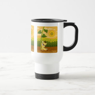 Cute Cartoon Bear with Sunflowers Travel Mug