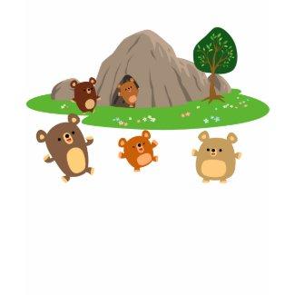 Cute Cartoon Bears in a Cave Children T-Shirt shirt
