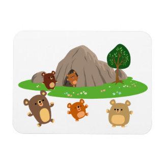Cute Cartoon Bears in a Cave Flexible Magnet