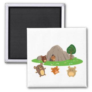 Cute Cartoon Bears in a Cave Magnet