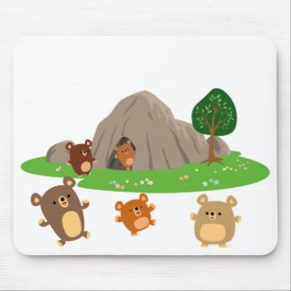 Cute Cartoon Bears in a Cave Mousepad