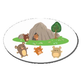Cute Cartoon Bears in a Cave Oval Sticker