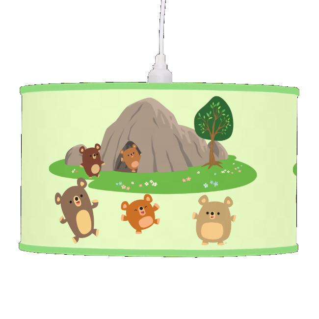 Cute Cartoon Bears in a Cave Pendant Lamp