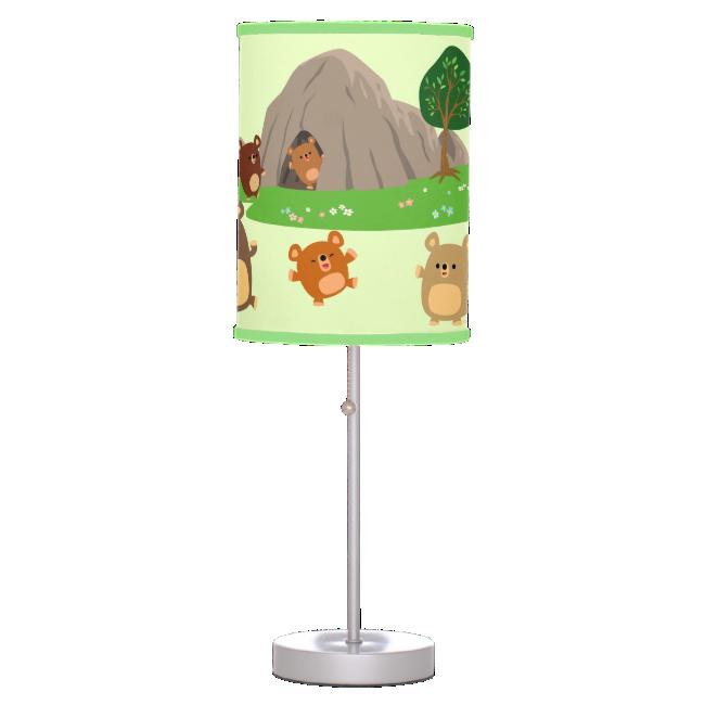 Cute Cartoon Bears in a Cave Table Lamp
