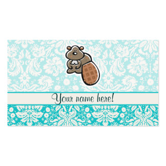 Cute Cartoon Beaver Double-Sided Standard Business Cards (Pack Of 100)