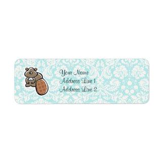 Cute Cartoon Beaver Label