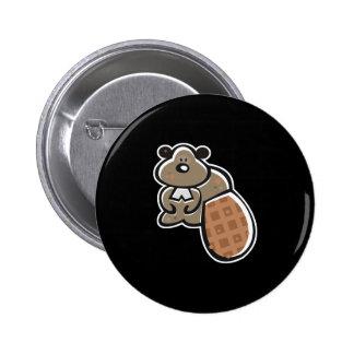 cute cartoon beaver pinback button
