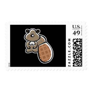 cute cartoon beaver postage