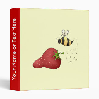Cute Cartoon Bee and Fruity Strawberry Design Binder