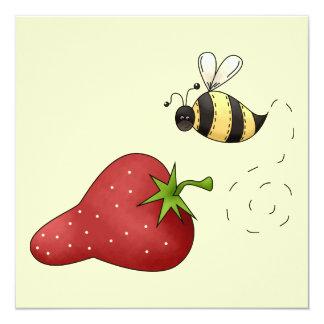 Cute Cartoon Bee and Fruity Strawberry Design Card