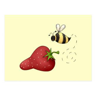 Cute Cartoon Bee and Fruity Strawberry Design Postcard