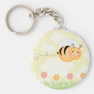Cute cartoon bee and hive flowers keychain