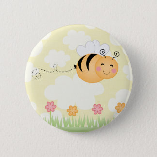 Cute cartoon bee and hive flowers pin button