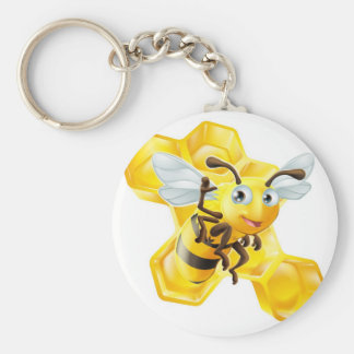 Cute Cartoon Bee and Honeycomb Key Chains