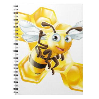 Cute Cartoon Bee and Honeycomb Spiral Notebooks