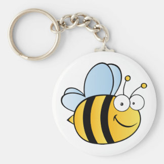 Cute Cartoon Bee Basic Round Button Keychain