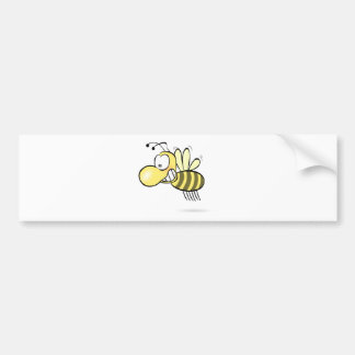 Cute Cartoon Bee Buzzing Around with Grin on Face Bumper Sticker