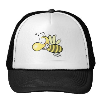Cute Cartoon Bee Buzzing Around with Grin on Face Mesh Hat