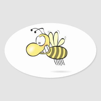 Cute Cartoon Bee Buzzing Around with Grin on Face Oval Sticker