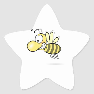 Cute Cartoon Bee Buzzing Around with Grin on Face Star Sticker