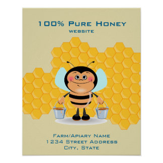 Cute Cartoon Bee Carrying Buckets of Honey Busines Poster