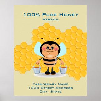 Cute Cartoon Bee Carrying Buckets of Honey Busines Poster