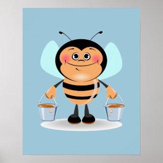 Cute Cartoon Bee Carrying Buckets of Honey Poster