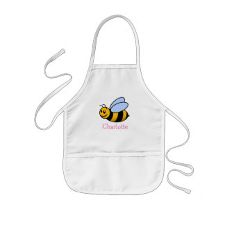 Cute cartoon bee personalized with childs name kids' apron