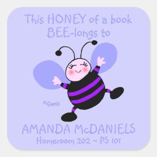 Cute Cartoon Bee Schoolbook Name Labels Purple