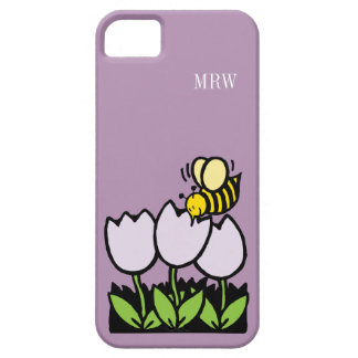 Cute Cartoon Bee Tulip Flowers Optional Monogram iPhone 5 Cases