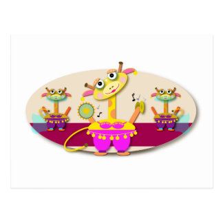 Cute Cartoon Bellydancing Giraffe Postcard