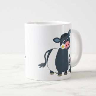 Cute Cartoon Belted Galloway Cow and Calf Giant Coffee Mug