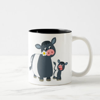 Cute Cartoon Belted Galloway Cow and Calf Two-Tone Coffee Mug