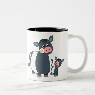 Cute Cartoon Belted Galloway Cow and Calf Two-Tone Coffee Mug