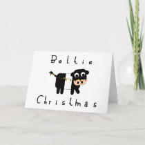 Cute Cartoon Beltie Christmas Belted Galloway Cow Card