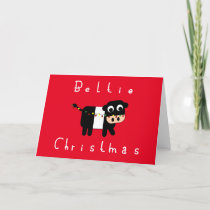Cute Cartoon Beltie Christmas Belted Galloway Cow Holiday Card
