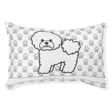 Cute Cartoon Bichon Frise Dog With Pet's Own Name Pet Bed