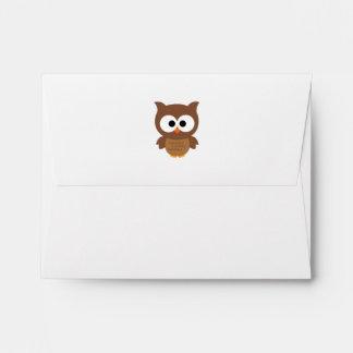 Cute Cartoon Big Eyed Brown Owl Envelope