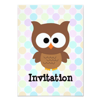 Cute Cartoon Big Eyed Brown Owl Personalized Invite