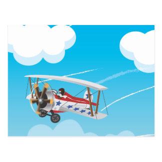 Cute cartoon biplane flying in the sky postcard