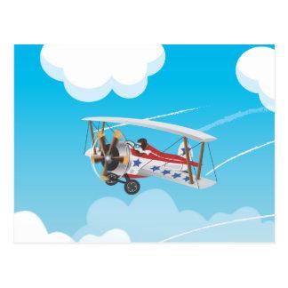 Cute cartoon biplanes postcard