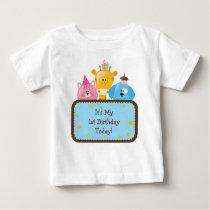 Cute Cartoon Birthday Animals Customizable Baby T-Shirt