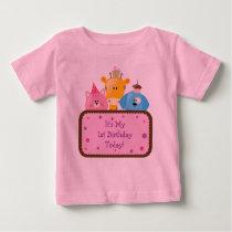 Cute Cartoon Birthday Animals Customizable Pink Baby T-Shirt