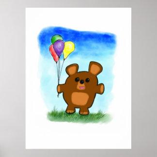 Cute Cartoon Birthday Bear Print