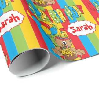 Cute Cartoon Birthday Bear Wrapping Paper