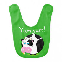 Cute cartoon black and white cow eating a flower, baby bib